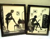 Set of  Buckbee Brehm 1920s Framed Silhouette Art Miss Moderne and Rings of Smoke