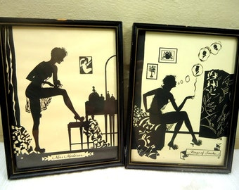 Set of  Buckbee Brehm 1920s Framed Silhouette Art Miss Moderne and Rings of Smoke