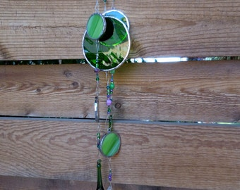 Stained Glass Mobile - Handmade - Green - Circles - Bubbles - Prism - Glass Drops - Pretty - Gift