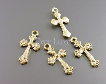 4 fancy cross charms,  jewelry pendants / charms, matte gold brass metal findings, jewelry making supplies 1649-MG (matte gold, 4 pieces)