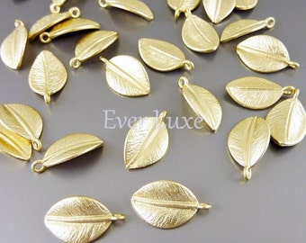 4 small leaf charms / realistic nature leaf charms for jewelry making, earrings, necklaces, bracelets 1565-MG-SM (matte gold, SM, 4 pieces)