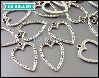 8 Antique silver heart charm / patterned heart vintage inspired pendant AN026-S (AN silver, 8 pieces)
