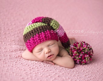 Baby Girl Elf Hat in Raspberry, Chocolate, and Sweet Pea