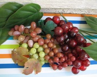 Vintage Soft Plastic Grapes & Leaves - Foliage - Houseplants - Faux Plastic Fruit - Photo Prop - Period Piece - 1950's to 1960's - Recreate