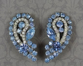 Vintage Curved Baby Blue and Clear Rhinestone Silver Large Clip On Earrings