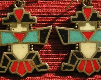 Southwest Sterling Silver Multi-Color Enamel Knifewing Earrings