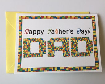 Father's Day Legos Blank Folded Note Card