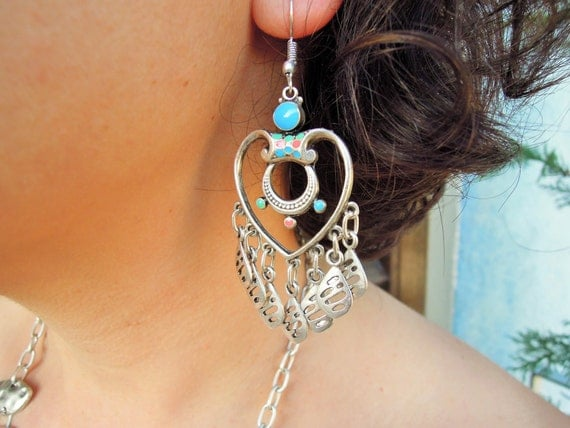 Boho Earrings, Bohemian Tribal Chandelier Earrings, Statement Earrings, Tribal Earrings,Large Earrings,Handmade Jewelry, gypsy bohemian