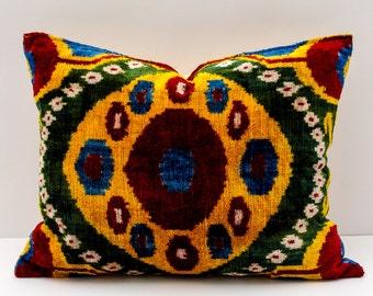 18x14, velvet ikat pillow, velvet ikat, ikat pillow cover, lumbar ikat, velvet pillow, decorative pillow cover