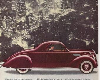 1937 LINCOLN ZEPHYR V12, Vintage Automobile Advertisement, March 1937 National Geographic Magazine, Original Color Illustration, Crafting