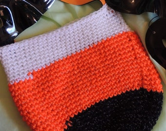 Crochet White, Orange & Black Tri-Color Glow-In-the-Dark, Reflective HalloweenTrick or Treat Goodie Bag