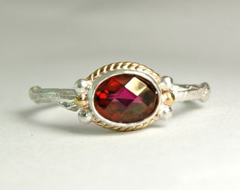 Pink Tourmaline Ring, Sterling Gemstone Ring, 14k Gold, Twig Ring, Fairy Jewelry, custom sized, Pink Faceted Stone