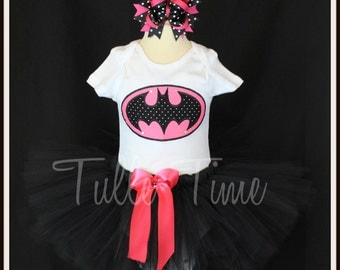 Pink polka dot Batgirl Batman embroidered body suit onesie tutu dress outfit bow sizes Newborn, 0-3 m, 3-6, 6-12m, 18m