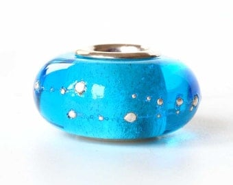 Big Hole Glass Bead, Aqua Lampwork Charm for European Bracelet