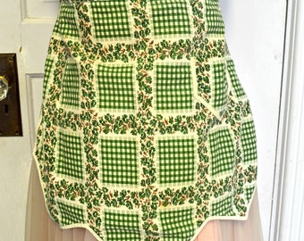 Vintage Green and White Ivy Gingham Cotton Kitchen Apron