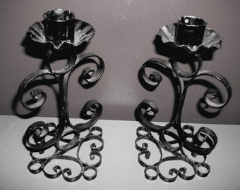 Vintage Pair Black Iron Scrollwork Candle Holders