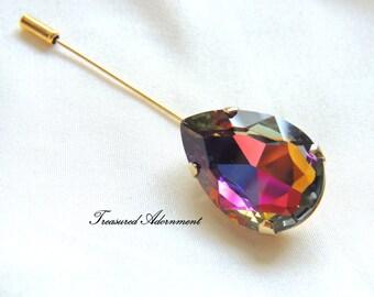 Vitrail Red and Blue Teardrop Rhinestone Hijab pin, Gold tone, Scarf pin, Shawl pin, Brooch, Peacock, Thank you gift, Ramadan Gift Present