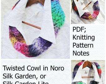 Twisted Cowl in NORO Silk Garden, Knitting Pattern PDF