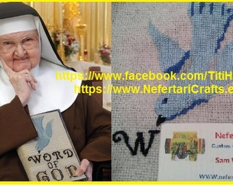Customized and hand stitched Bible Cover, as seen with mother Angelica / Needle art, Cross Stitsh, Hand Sew Book Cover