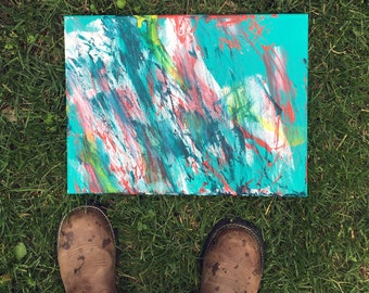 Where the Grass is Greener Original Abstract Teal Painting from horse artist MINNOW