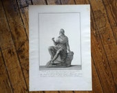 1783 PIRANESI STATUE of PARIS engraving rare & important original antique Italian sculpture etching - a Trojan prince