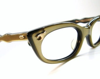 Vintage Tan Cat Eye Glasses Eyeglasses Eyewear Frame NOS