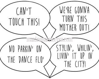 Funny Photo Prop Talk Bubbles - Music Lyrics Edition