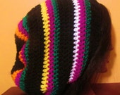 SUPER SALE Black orange purple yellow white slouch beanie rasta dreadlock tam hat