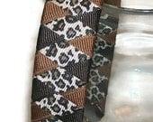 "Tan Leopard Woven 1"" Headband - Handmade - Brown Leopard Print Grosgrain Ribbon Braided Headband"