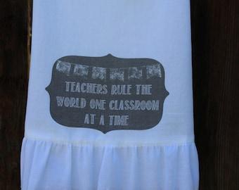 Shabby Chic, Cottage, Farmhouse, Flour Sack Towel, Tea Towel, Kitchen Towel. (teachers rule)