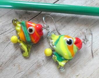 Lampwork Fish Earrings, Lampwork Animal Art Earrings, Handmade jewelry, Unique Fashion Handmade Glass Fish Earrings, Artisan Glass Jewelry