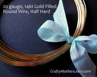 Take 15% off with 15OFF20, 20 gauge 14kt Gold Filled Wire, Round, Half HARD, 14K/20, wire wrapping, precious metals - SELECT a length