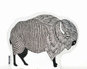 american bison plush, buffalo pillow, animal pillow, buffalo plush, bison pillow, animal pillows, animal cushions, buffalo cushion