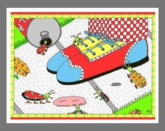 Bugs and Wingtip Shoes and Bubble Gum Notecard For Your Favorite Odd Person