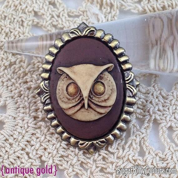 Custom Cameo Resin Pins Diy: Hand Painted Owl Cameo Brooch SugarKitty By Sugarkittycorsets