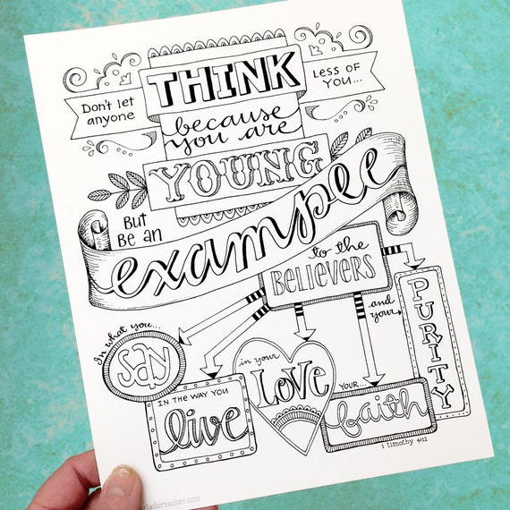 1 timothy 4 12 be an example bible journaling color your own for Bible journaling coloring pages