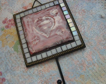 MOSAIC WALL HOOK, Heart, Wall Art, Home Decor, Pink and White
