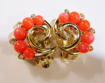 vintage Judy Lee orange and gold tone clip on earrings with clear rhinestones 415D