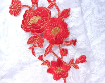 """GB158 Red Gold Metallic Rose Embroidered Applique Iron On Patch 10"""" (GB158-rdgl)"""