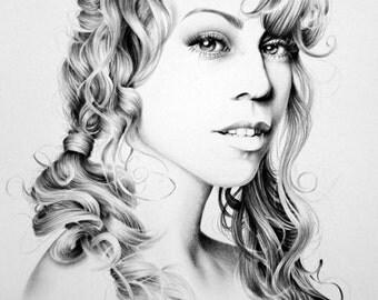 Mariah Carey Minimalism Pencil Drawing Fine Art Portrait Signed Print