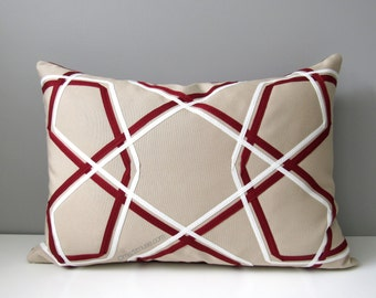 INVENTORY SALE - Burgundy Geometric Pillow Cover, Modern OUTDOOR Pillow Cover, Decorative Beige White Throw Pillow Case, Sunbrella Cushion