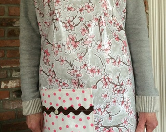 cherry blossom oilcloth full sized apron