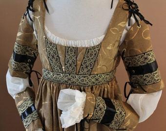 Custom Made Golden Leaf Italian Dress Renaissance Medieval Game of Thrones Tudor Gown