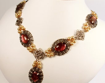 Special Edition Sunset Desire Pearl Tudor Necklace Renaissance Medieval Costume Game of Thrones Jewelry