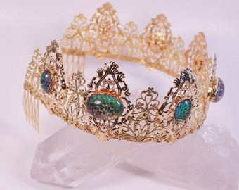 Helio Dragon Skin Tudor Tiara Renaissance Crown Filigree Medieval Game of Thrones