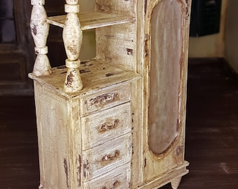 Dollhouse Miniature - Crackled White Antiqued Dresser