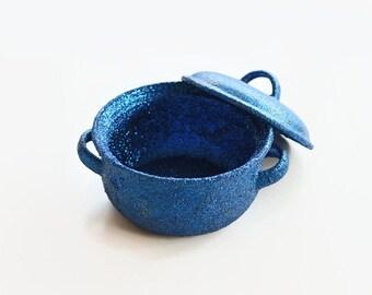 Cobalt Blue Hand Glittered Mini Casserole, Home Decor. Kitchen Decor, Handmade, Christmas Decor Gift