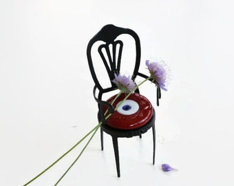 Miniature Iron Chair, Spritual Home Decor, Red Glass Evil Eye Bead, Child Room Decor, Housewarming Gift