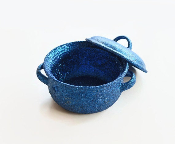 Cobalt Blue Hand Glittered Mini Casserole Home Decor Kitchen