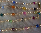 "Custom Made Necklace 14K Gold Swarovski Crystals Bicones Wire Wrapped Necklace Multi Color 4mm Crystals Bridal Lariat 18"" Bridesmaid Mother"